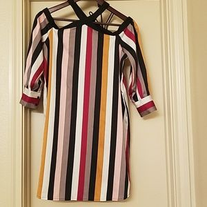 Multicolored, long stripped dress